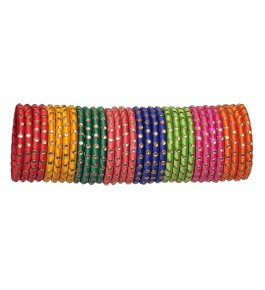Designer Glossy Multicolour Silk Thread Bangles For Women By New Make In India