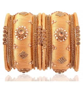 Fashionable & Trendy Royal Silk Thread Flower Design Bangle For Women By New Make In India