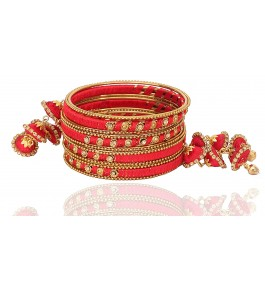 Firozabad Glass Beautiful & Stylish Royal Design Silk Thread Bangle For Women & Girls By New Make In India
