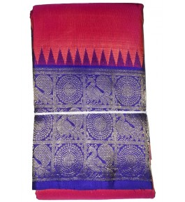 Handloom Molakalmuru Pure Silk Red & Blue Color Saree For Women