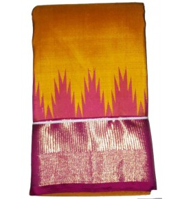 Handloom Molakalmuru Pure Silk Yellow & Pink Saree For Women