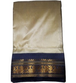 Handloom Molakalmuru Pure Silk Cream Saree For Women