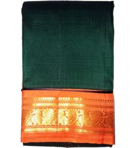 Handloom Molakalmuru Pure Silk Mehndi Color Saree For Women