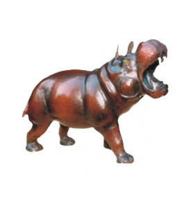Genuine Leather Animal Hippo Toy By Rainbow Art Center