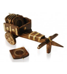 Wooden Cart Shape Coster Set With 6 Plates By Wood Beauty Handicrafts