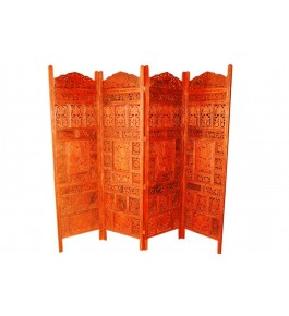 Wooden Carved Screen 4 Panels By Wood Beauty Handicrafts