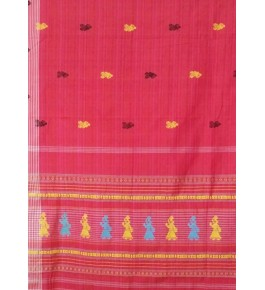 Hand Woven Cotton Red Siddipet Gollabama Saree for Women