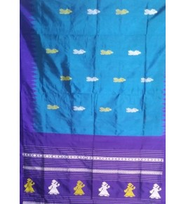 Hand Woven Silk Turquoise Siddipet Gollabama Saree for Women