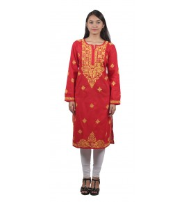 Lucknow Chikan Craft Handmade  Embroidery Work Red Suit For Women By Lucknow Chikan Store