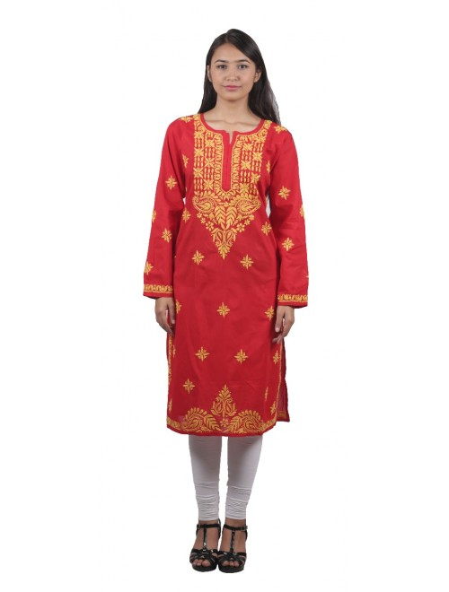 Handmade Chikan Embroidery Work Red Suit For Women By Lucknow Chikan Store