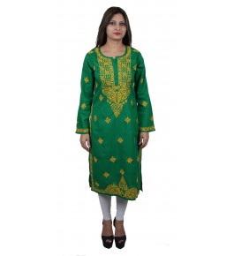Handmade Chikan Embroidery Work Green Suit For Women By Lucknow Chikan Store