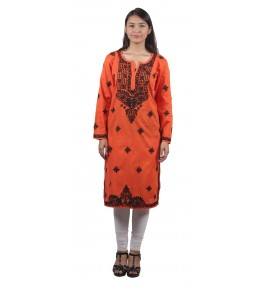 Handmade Chikan Embroidery Work Orange Suit For Women By Lucknow Chikan Store