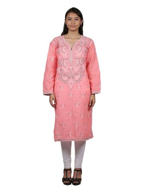 Handmade Chikan Embroidery Work Peach Suit For Women By Lucknow Chikan Store