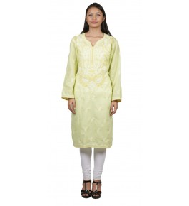 Handmade Chikan Embroidery Work Yellow Suit For Women By Lucknow Chikan Store