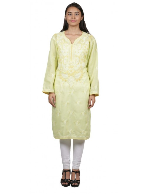 Handmade Chikan Embroidery Work Light Yellow Suit For Women By Lucknow Chikan Store