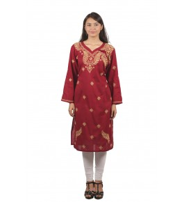 Lucknow Chikan Craft Handmade Embroidery Work Maroon Suit For Women By Lucknow Chikan Store