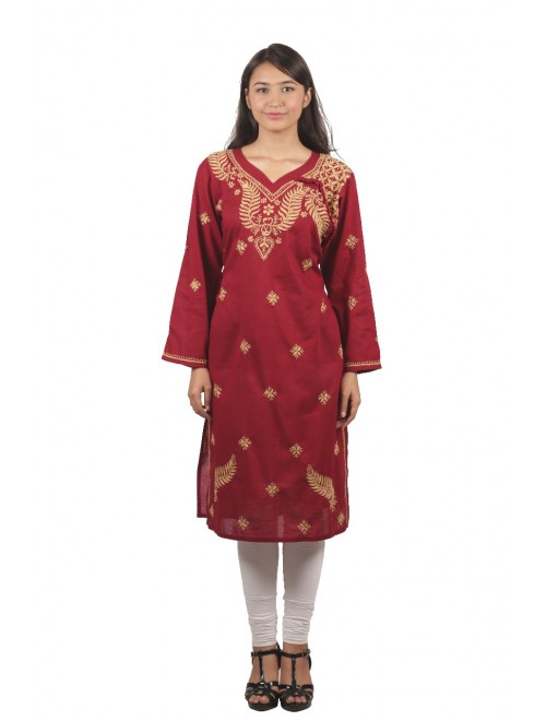 Handmade Chikan Embroidery Work Maroon Suit For Women By Lucknow Chikan Store