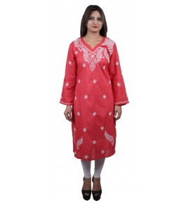 Lucknow Chikan Craft Handmade Embroidery Work Pink Suit For Women By Lucknow Chikan Store