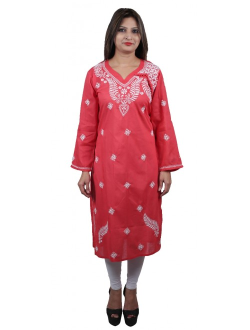 Handmade Chikan Embroidery Work Pink Suit For Women By Lucknow Chikan Store