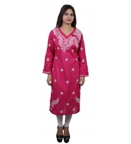 Handmade Chikan Embroidery Work Dark Pink Suit For Women By Lucknow Chikan Store