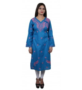 Handmade Chikan Embroidery Work Blue Suit For Women By Lucknow Chikan Store
