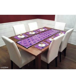 Beautiful Purple Color Floral Printed Table Runner (7 pcs) For Home Decor By Bedi's Creation