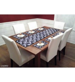 Beautiful Black Color Printed Table Runner (7 pcs) For Home Decor By Bedi's Creation