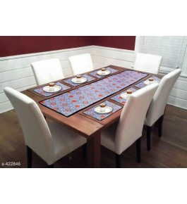 Beautiful Orange & Sky Blue Color Printed Table Runner (7 pcs) For Home Decor By Bedi's Creation