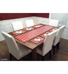 Beautiful Orange Table Runner (7 pcs) For Home Decor By Bedi's Creation