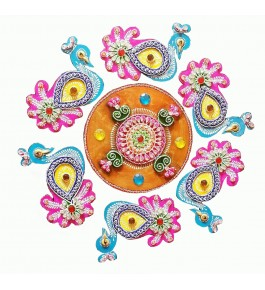 Handmade Beautiful Multicolor Wooden Rangoli By Maahi Creation