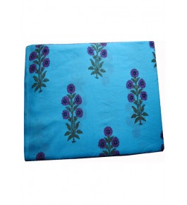 Bagru Hand Block Printed Cotton Sky-Blue Fabric 20 Meter (Dress Material) By Vikas Enterprises