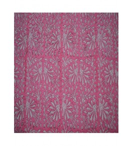 Hand Block Printed Cotton Deep Pink Floral Design Fabric 10 Meter (Dress Material) By Vikas Enterprises