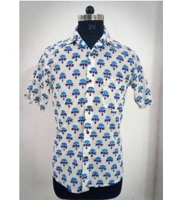 Bagru Hand Block Printed Men's Cotton Shirt By Vikas Enterprises